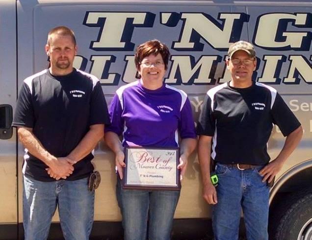 Best of Mower County Award - 2014 - T 'N G Plumbing
